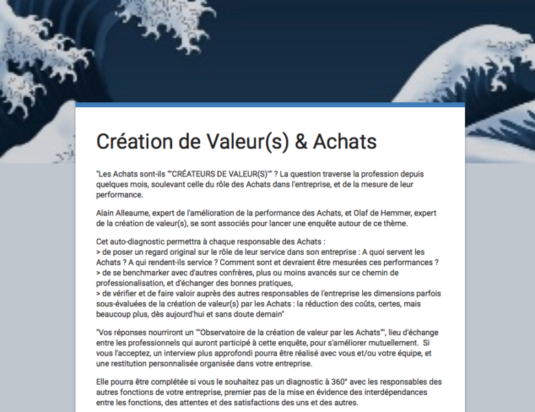 enquête «Création de valeur(s) par les Achats» : résultats !