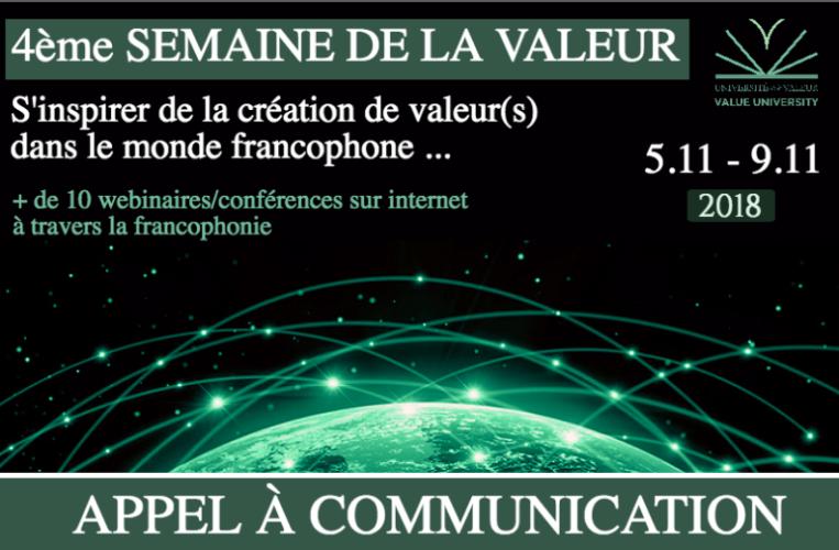 la 4e Semaine de la Valeur du 5 au 9/11 : appel à communications !