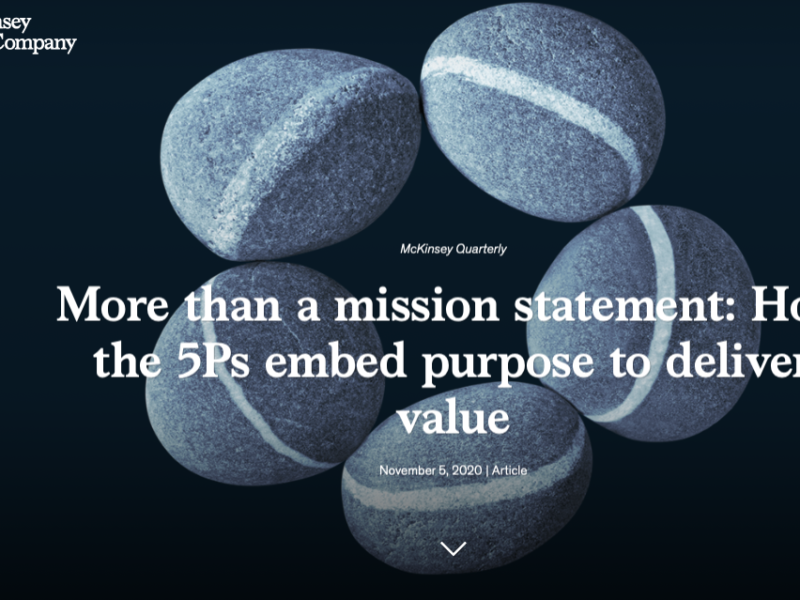 «More than a mission statement: How the 5Ps embed purpose to deliver value» a McKinsey article