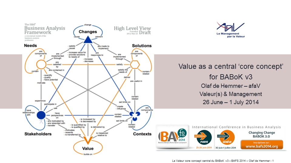 BAFS 2014 : Value as a central core concept of Business Analysis