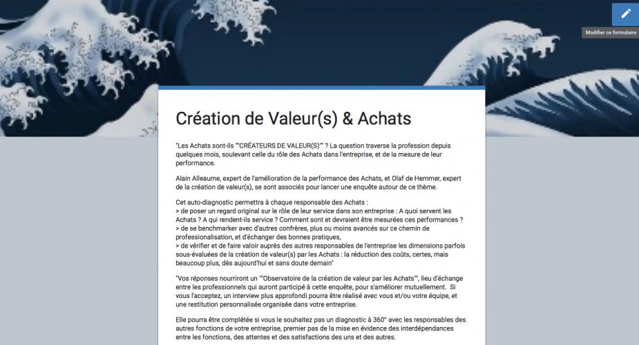 """Une première : enquête sur la """"création de valeur(s) et les Achats"""""""