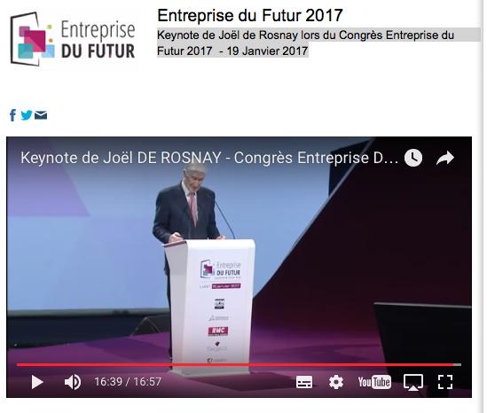 """Joël de Rosnay """"Entreprise du Futur 2017"""""""